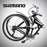 New 26″ Folding Mountain Bike Foldable Bicycle 6 SP Speed Shimano, Black Color