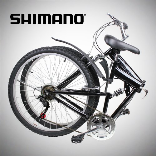"Best Review Of New 26"" Folding Mountain Bike Foldable Bicycle 6 SP Speed Shimano, Black Color"