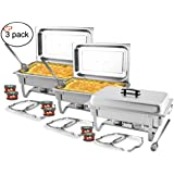 TigerChef 8 Quart Full Size Stainless Steel Chafer with Folding Frame and Cool-Touch Plastic on top - includes 2 Free Chafing Gels and Slotted Serving Spoon (3, 8 Quart Chafer)