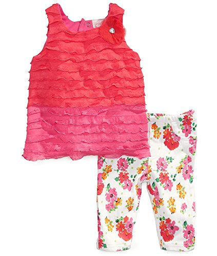 Nannette Baby Girls' 2 Piece Pink Ruffle Shirt and Flower Pattern Pant, Pink, 12 Months