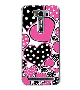 Black and Pink Hearts 2D Hard Polycarbonate Designer Back Case Cover for Asus Zenfone Selfie ZD551KL