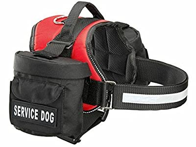 Service Dog Harness with Removable Saddle Bag Dogs Backpack Harness Pack Carrier Traveling Carrying Bag. 2 removable Velcro patches. Please measure dog before ordering. Made by Doggie Stylz