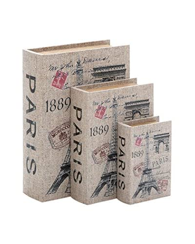 Set of 3 Wood Canvas Books