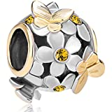 Pugster Crystal Flower Butterfly Charm Bead Fits Pandora Charms Bracelet