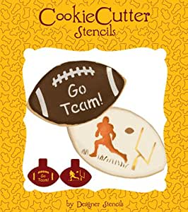 Football cookie stencil set no cutter by for Football cookie cutter template