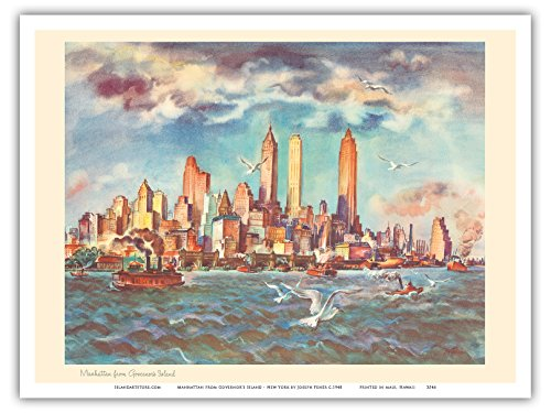 manhattan-de-lile-du-gouverneur-new-york-united-airlines-page-de-calendrier-affiche-ancienne-vintage