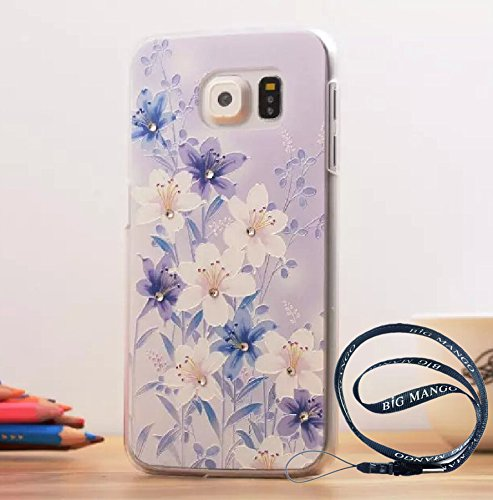 Fashion Crsytal Diamond Hard Plastic Back Case for Samsung S6 SVI Studded Rhinestone Solid Cover for Samsung Galaxy S6 Summer Spring Style + BIG MANGO Logo Long Strap -Flower Grass
