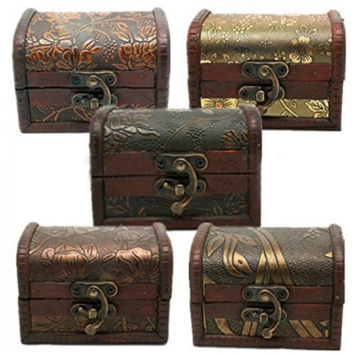 tallahassee Antique Wooden Embossed Flower Pattern Jewelry Box Storage Organizer Gift Decorative Boxes