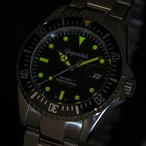 Gigandet Automatik Herren-Armbanduhr Sea Ground Vintage Taucheruhr Uhr Datum Analog Edelstahlarmband Schwarz Silber G2-007 4