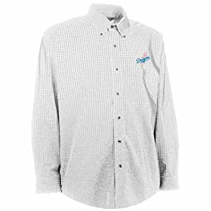 Los Angeles Dodgers Esteem Button Down Dress Shirt (White) by Antigua