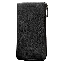 QIALINO Women\'s Long Zipper Genuine Leather Wallet Case /Card Case /Phone holder Snap Clutch Purse - 4.7 inch Phone,Black