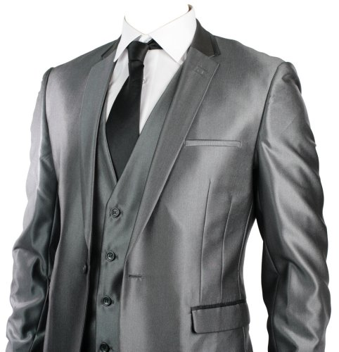 Mens Slim Fit Suit Shiny Silver Grey Black Trim 3 Piece Work Office or Wedding Party