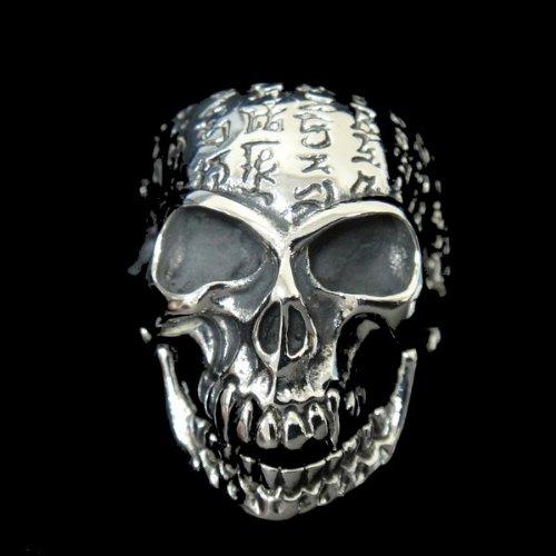 The Biker Metal 316L Stainless Steel Men's Incantation Skull Head Ring for Harley Rider Motor Biker TR-68 by Priority Mail