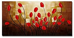 Wieco Art Extra Large Budding Flowers Modern Floral Oil Paintings on Canvas Wall Art for Living Room Home Decorations