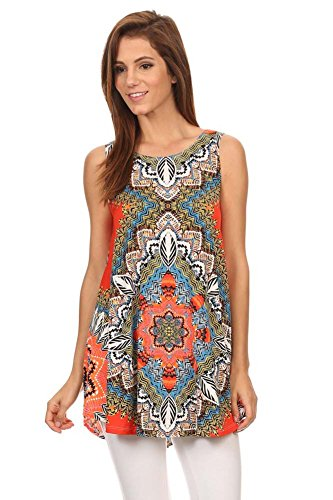 Women's Print Sleeveless Relaxed Style Tunic Top. MADE IN USA (M, PRT-OM)