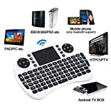 Rii 2.4GHz Mini i8 Wireless Rechargeable Keyboard Mouse with Touchpad Fly Air Mouse for PC/PAD/XBox360/PS3/Google Android TV Box/HTPC/IPTV/Raspberry Pi (White)