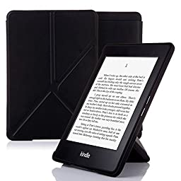 Nouske PWO-001 Origami Magnetic Autowake Function Leather Flip Folio Book Style Stand Up Cover for Amazon All-New Kindle Paperwhite, Black