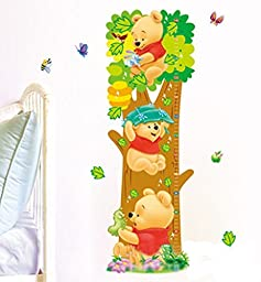 Buy-Box Cartoon Winnie The Pooh Height Growth Chart Removable Wall Art Decal Sticker 26.5*73cm