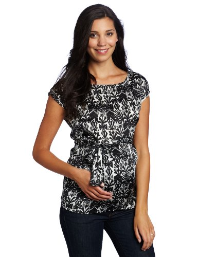 Three Seasons Maternity Women's Short Sleeve Print Woven Top