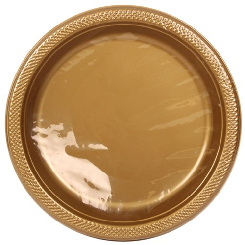 Jam Paper® - Medium Round Gold Plastic Party Plates - 9 Inches - 20 Plates Per Pack