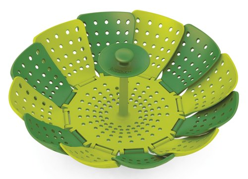 Joseph Joseph Lotus Folding Steamer Basket, Green and Dark Green