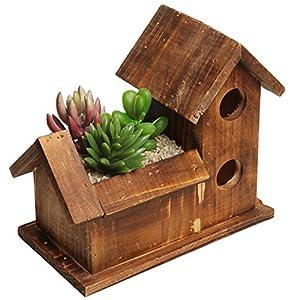 Small rustic style bird house design brown - Wooden flower pot designs ...