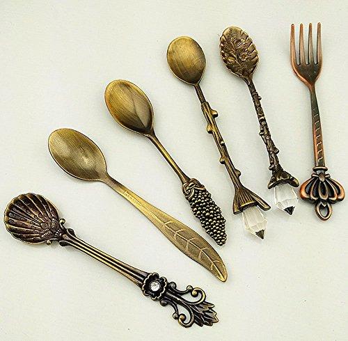 duode Temps Lot de 6/de bar salle à manger cuisine nostalgique en métal style vintage royal sculpté Cuillères à Café et à fourche pour Sweet Goûter