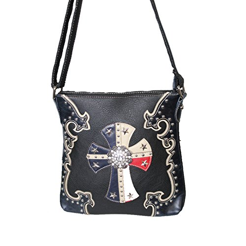 American Star Concho Cross Leather Concealed Carry Handbag Purse in Red and Blue and Optional Matching Wallets. (Blue Messenger bag)