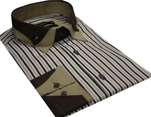 Men's High Collar Formal Casual Striped Shirt Double Collar Shirt Brown Colour