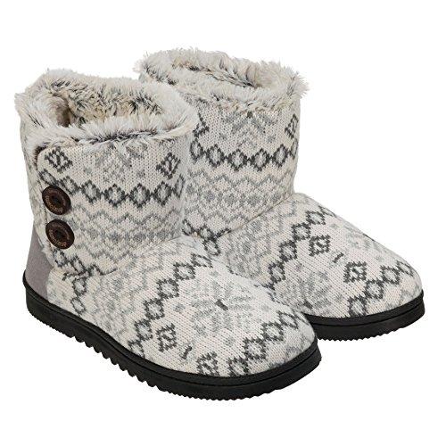 758aefcf4d1a Dearfoams Womens Memory Foam Sweater Knit Bootie Slippers