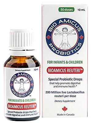 BIOAMICUS REUTERI Infant & Toddler Probiotic Drops with NEW EASY FLOW DROPPER