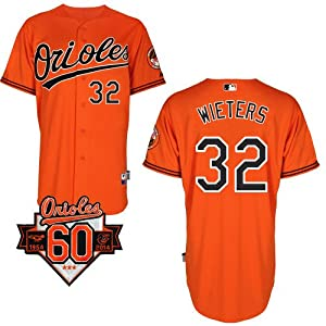 Matt Wieters Baltimore Orioles Alternate Orange Authentic Cool Base Jersey w  60th... by Majestic