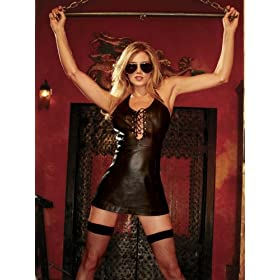 Hustler Lingerie Lace Up Leather Mini Dress
