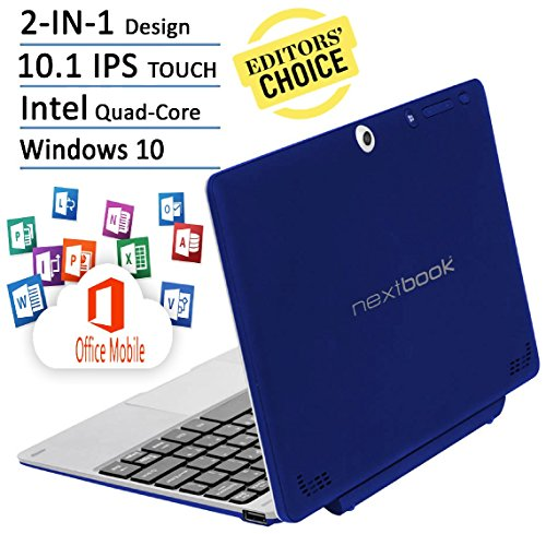 Nextbook Flagship Blue Edition Flexx 10.1-Inch Touchscreen 2 IN 1 Tablet Laptop With Keyboard (Intel Quad-Core Z3735F Processor, 2G RAM, 32G Storage with 32G MicroSD, IPS, Windows 10) (10 Inch Tablet Quad compare prices)