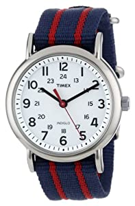 "Timex Unisex T2N747 ""Weekender"" Blue and Red Stripe Nylon Strap Watch"