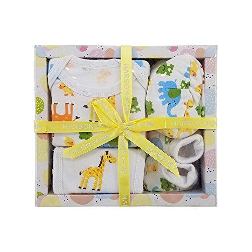 Harson&Jane 100% cotone Gift Set Baby - Body, Bib, Cap, bottini per 0-6 Mese bambino appena nato (YELLOW)