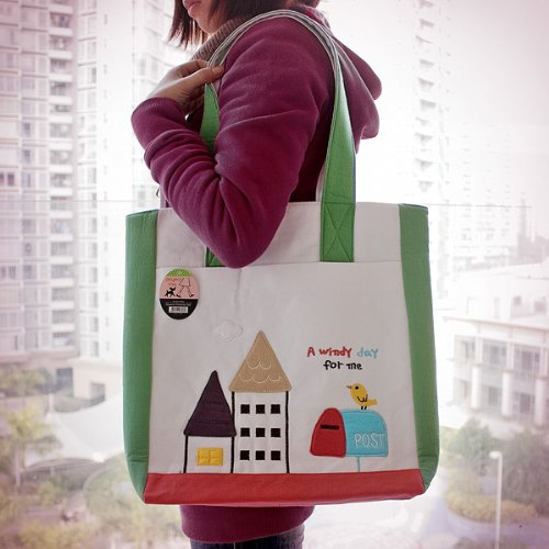 [A Windy Day] Embroidered Applique Fabric Art Shoulder Tote Bag / Shopper Bag (14*14.5*4)
