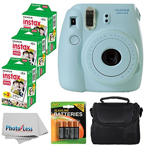 New Fujifilm Instax Mini 8 Instant Film Camera (Blue) With Fujifilm Instax Mini 6 Pack Instant Film ...