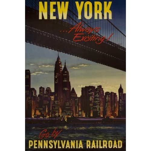 24x36 vintage new york always exciting travel poster art print posters prints. Black Bedroom Furniture Sets. Home Design Ideas