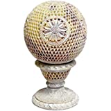 Artist Haat Handcrafted Soapstone Round Tealight Candle Holder With Jali Work (Beige, 12.5*12.5*22.5 Cm Approx.)