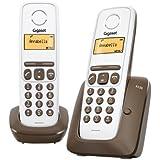 Gigaset A130 Duo - Teléfono fijo inalámbrico con pantalla (2 terminales), color blanco y marrón (importado)