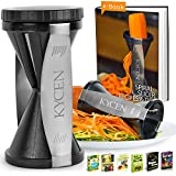 Kycen Spiral Slicer, Vegetable Zoodles Spiralizer with 7 Ebooks & Cleaning Brush, Zucchini & Vegetable Spaghetti Maker