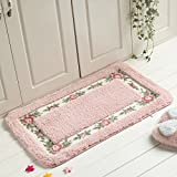 Stay Young® Decorative Super Soft Floral Design Rural Style Pretty Rose Pattern Non Slip Absorbent Shaggy Area Rug Carpet Doormat Floormat Bath Mat Bathroom Shower Rug (15.75*23.62 Inch) (Pink)