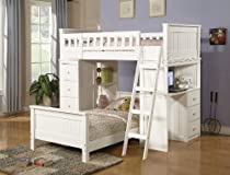 Hot Sale Acme Furniture Bunk Bed Twin Set With Chest And Hutch White Finish Youth Kids Bedroom