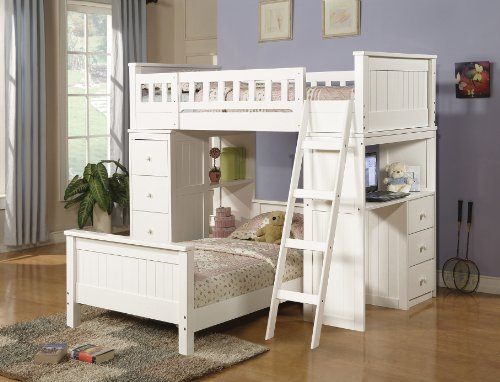Cheap Bunk Bed Twin Set With Chest And Hutch White Finish Youth Kids Bedroom (B008W1B562)