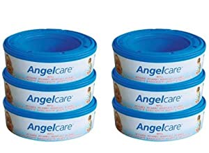 6 X Angelcare Nappy Disposal System Refill Cassettes Wrappers Bags Sacks Pack Best Quality Fast Shipping Ship Worldwide