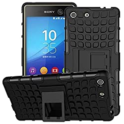 Plus Shock Proof Protective Rugged Armor Super Hybrid Heavy Duty Back Case Cover For Sony Xperia M5 Dual - Rugged Black