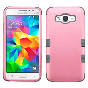 Galaxy Grand Prime Case, Rock Me Wireless (TM) 2 items Bundle - 24K Gold Plating Sticker and Triple Layers Hybrid Protector Case. (Pearly Pink / Grey)