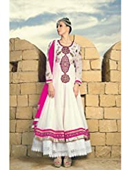 Dee's Alley White Colour Georgette Anarkali Suit