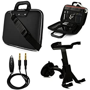 "Black SumacLife Cady Bag Case w/ Shoulder Strap for Samsung ATIV Smart PC Pro 500T / 700T 11.6"" Tablet + Windshield Mount + Auxiliary Cable"
